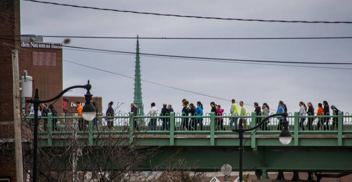 hike for the homeless walkers on the bridge